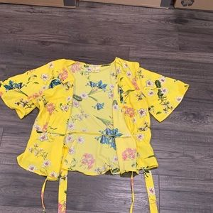 Vibrant Yellow Floral Wrap Top
